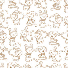 Seamless pattern with cute cartoon cats  in knitted scarves and hats on white  background.  Funny kittens. Animals  in clothes. Vector contour  image. Children's illustration.