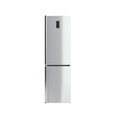 Stainless steel modern refrigerator on white no shadow 3d illust