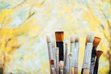 Close up of painting brushes