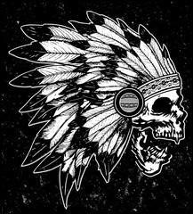 One color Indian skull illustration t shirt graphic desig