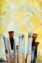 Close up of brushes outdoors