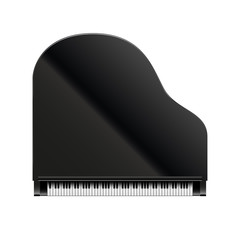 Black grand piano top view, vector, isolated on white
