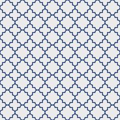 Traditional quatrefoil lattice pattern outline, blue on gray