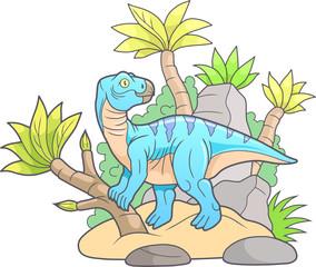 cartoon Iguanodon went for a walk