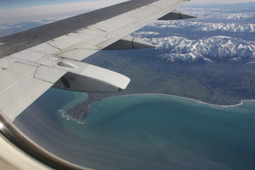 Aerial photo of Kaikoura, New Zealand.