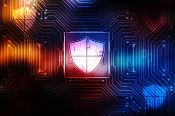 Security concept: pixelated shield icon on digital background, 3d render