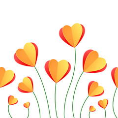 Orange heart paper art. Blooming love concept. Illustration isolated on white background.