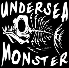 Tee graphic design underwater monster