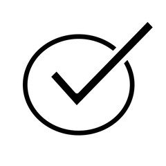 Checkmark line vector icon. Isolated on white background.