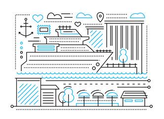 Voyage trip - line flat design illustration