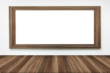 Wood frame on the wall with wood table