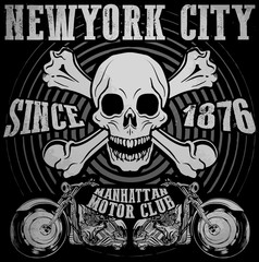 Skull Tee Graphic Design motorcycle club
