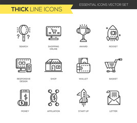 Business, shopping modern thick line design icons set