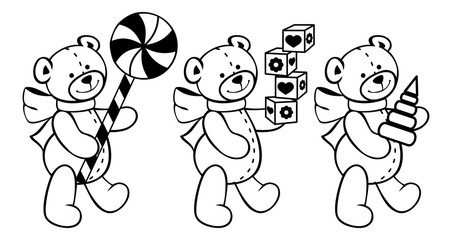 Contour image of teddy bears and other children toys.
