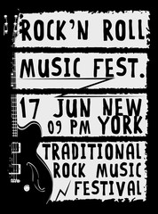 Hand drawn Rock festival poster. Rock and Roll sign...