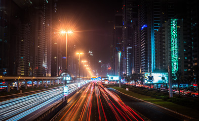 Dubai traffic at night - long exposure
