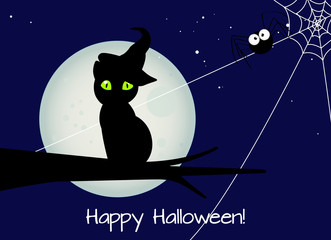 halloween card, black cat with witch hat with a big black spider against full moon during halloween's night