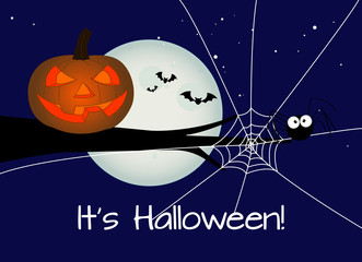 halloween card, jack-o-lantern with a black spider against full moon during halloween's night