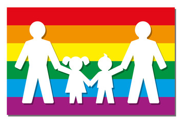 LGBT parents - two dads with daughter and son - icon on pride flag.