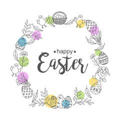 Easter wreath with hand-drawn symbols. Lettering, sketch,doodle. Vector background