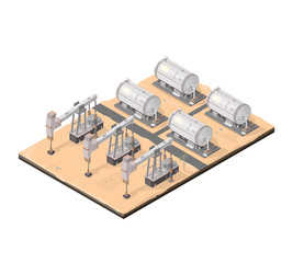 Isometric Desert Oil Drilling Derricks Icon.  A vector illustration of oil production drilling and storage in the desert.