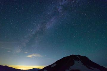 長野 北アルプス 星空と立山連峰