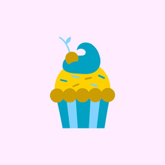 Cherry Cupcake vector icon