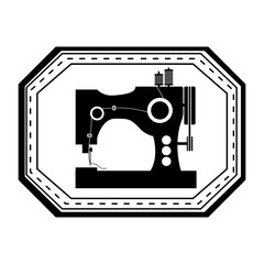 monochrome silhouette sewing machine in frame vector illustration