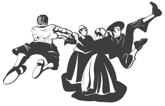 Danseurs bretons en noir et blanc