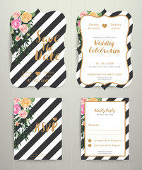 Modern wedding invitation card set on black and white stripe bac
