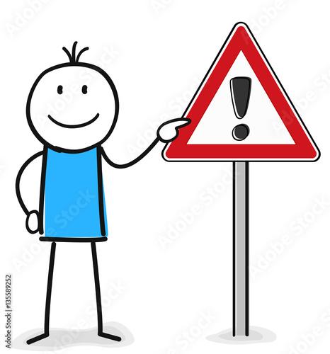 Achtung Schild Mit Ausrufezeichen Zeigt Die Figur Stockfotos Und
