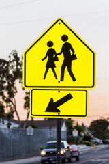 Children Crossing Yellow Warning Sign