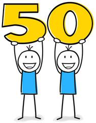 Figuren feiern den Fünfzigsten Geburtstag oder Jubiläum
