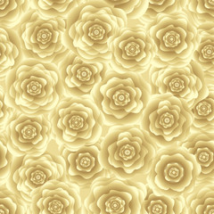 Seamless floral pattern. Gold roses on a light background. For design backgrounds, greeting cards for Valentines day, for design wrapping paper and textiles.