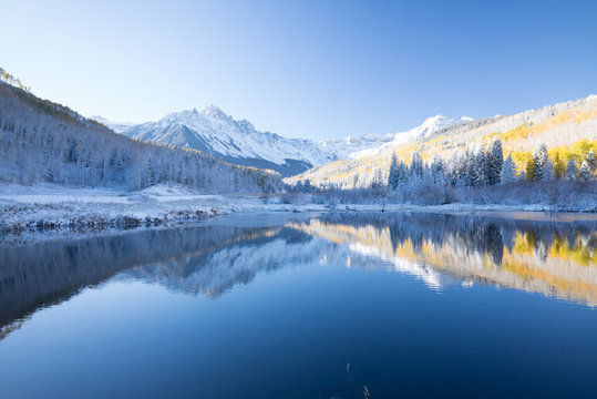 mountain winter and autumn reflection