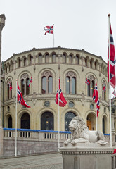 Norwegian parliament with flags. Oslo.