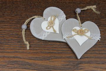 Grey decorative hearts