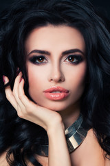 Beautiful Lady with Dark Curly. Perfect Brunette with Event Make