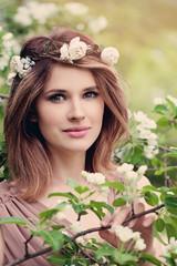 Pretty Woman Fashion Model with Flowers