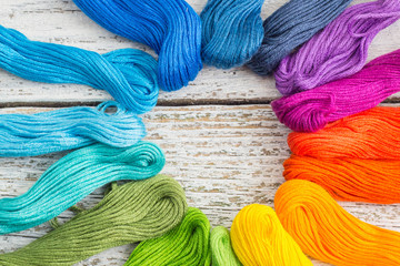 colorful sewing threads for embroidery on white background