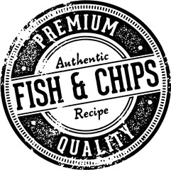 Vintage Fish and Chips Menu Design Stamp