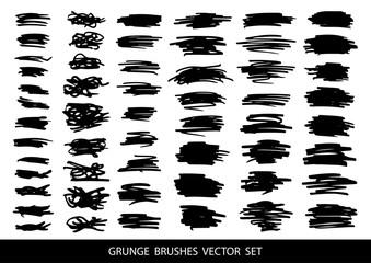 Set of black paint, ink, grunge, dirty brush strokes.Vector.
