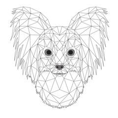 Chihuahua a pelo lungo geometrico, portrait di cane, arte astratta di poligoni sullo sfondo bianco