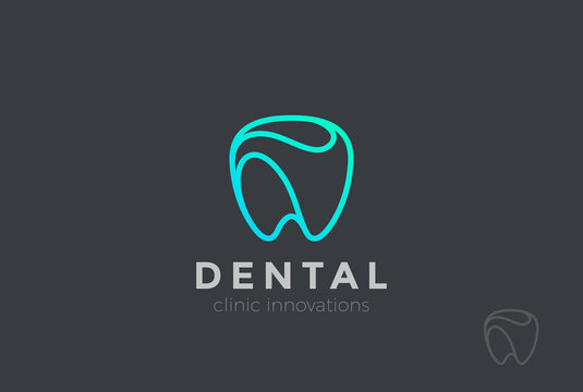 Dental Clinic Logo Tooth abstract Linear Dentist stomatology