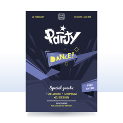 Creative party flyer template with abstract geometric shapes. Applicable to banner, placard, advertising,event design. Vector eps 10.