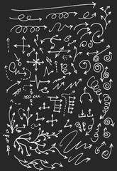 arrows doodle set on blackboard
