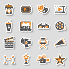 Cinema and Movie sticker Icons Set