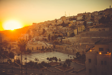 Cityscape Amman downtown at dawn. Capital of Jordan. Tourism concept. Arab city. Toned. Roman theater Amman symbol. This city was initially built on seven hills. Old Town