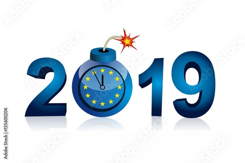 eu bomb with year 2019 five minutes to twelve countdown