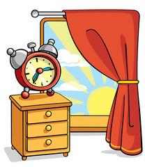 alarm clock  on nightstand next to the window cartoon illustration